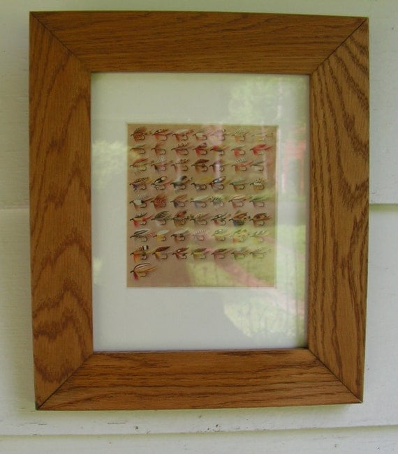 50s Bergmans TROUT Fly Fishing Flys Color Plate Handcrafted Wood Frame and matted