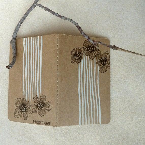 RESERVED Art Nouveau Floral Print Sketchbook - Hand Painted Moleskine Stocking Stuffer