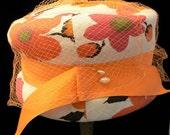 Vintage 60s Mad Men Linen Togue/Toque Hat w. Veil