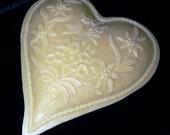Handmade Artisanal Beeswax Wall Hanging - Huge Alpine Eidelweiss Heart / Valentine