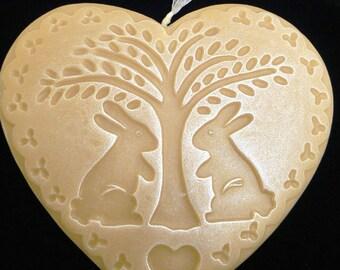 Handmade Artisanal Beeswax Ornament - BUNNIES Under a Tree