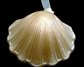 Handmade Artisanal Beeswax Ornament - Seashell SCALLOP / CLAM