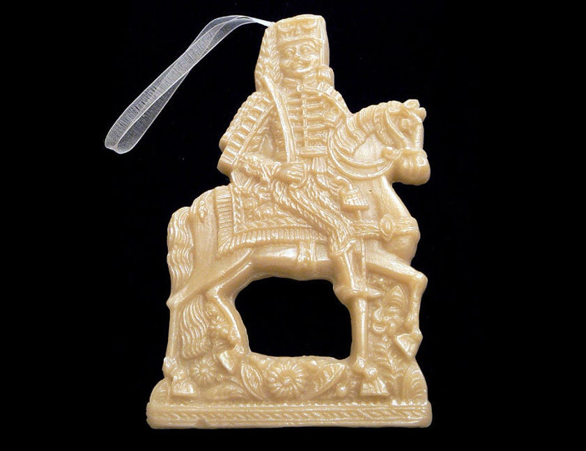 Handmade Artisanal Beeswax Ornament - 18th Century Lg. HUSSAR or KNIGHT