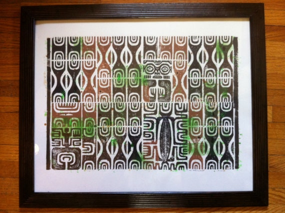 Marquesan Tikis block print with frame. RESERVED FOR TEMEGL