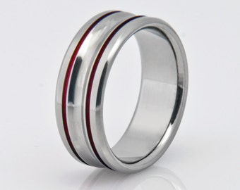 Titanium Wedding Band, Womens Titanium Ring, Mens Titanium Ring, Hypoallergenic Ring, Engagement Ring, Promise Ring, Wedding Ring, Red Ring