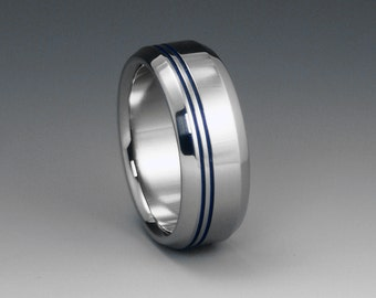 Titanium Band, Beveled Titanium Ring, Blue Pinstripes / Mens Ring, Womens Ring, Unisex Ring / Titanium Wedding Engagement Promise Ring
