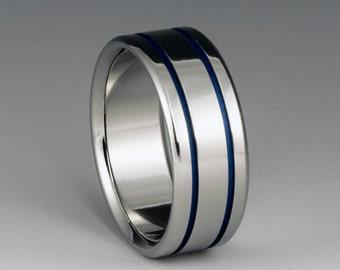 Handmade Blue Titanium Ring, Blue Pinstripe Band, Titanium Band, Mens ring, Womens Ring, Titanium Wedding Band, Blue Ring, Engagement Ring