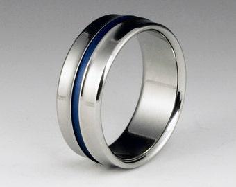 Titanium Wedding Band Blue Titanium Ring Titanium Ring By ClassicTitanium