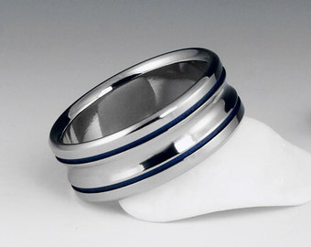 Titanium Wedding Band Blue Titanium Ring Titanium Ring