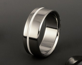 Titanium Wedding Ring, White Titanium Band, Offset Pinstripe / Mens or Womens Titanium Ring / Wedding Engagement Promise Anniversary Band