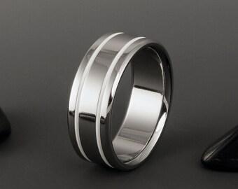Titanium Band, White Stripe Titanium Ring / Wedding Engagement Promise Ring / Mens or Womens Ring / Simple Elegant Handmade Titanium Ring