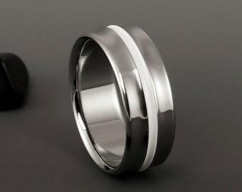 Titanium Wedding Band, Unique White Titanium Ring / Mens or Womens Titanium Ring / Wedding Engagement Promise Titanium Ring / Handmade Ring