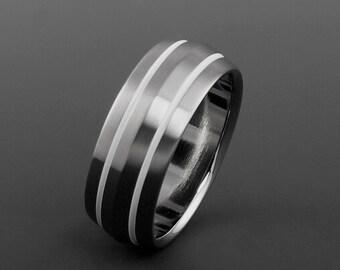 Titanium Ring, Unique Peaked Profile White Stripe Titanium Band / Mens or Womens Ring / Wedding Engagement Ring / Custom Handmade Ring