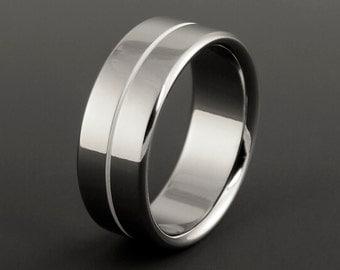 Titanium Wedding Ring, White Pinstripe, Titanium Band, Mens Ring, Womens Ring, Titanium Wedding Bands, Mens Titanium Band, Womens Band, Ring