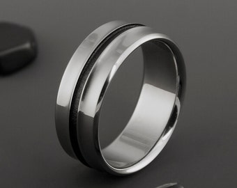 Titanium Wedding Band, Unique Black Textured Titanium Ring / Personalized Custom Ring / Mens or Womens Titanium Band / Engagement Ring