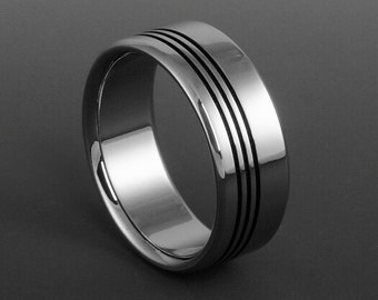 Titanium Wedding Ring, Black Pinstripes / Mens or Womens Titanium Band / Engagement Promise Titanium Ring / Mens Wedding Band / Custom Ring