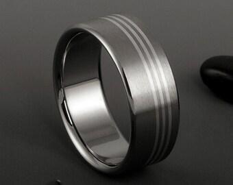 Titanium Silver Ring, Titanium Rings, Sterling Silver Band, Mens Titanium Ring, Womens Titanium Ring, Titanium Wedding Ring, Wedding Band