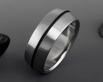 Titanium Ring, Black Pinstripe, Titanium Band, Mens Titanium Ring, Womens Titanium Ring, Titanium Wedding Band, Black Titanium, Wedding Ring