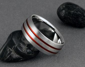 Titanium Wedding Ring, Red Pinstripe Titanium Band / Mens Ring, Womens Ring, Custom Width Ring / Hand Made Titanium Engagement Promise Ring