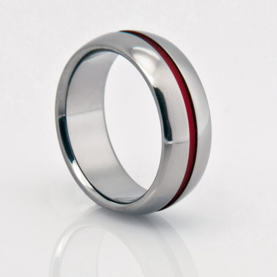 Titanium Band, Red Pinstripe, Red String of Fate, Titanium Ring, Wedding Ring, Titanium Wedding Band, Engagement Ring, Mens or Womens Ring