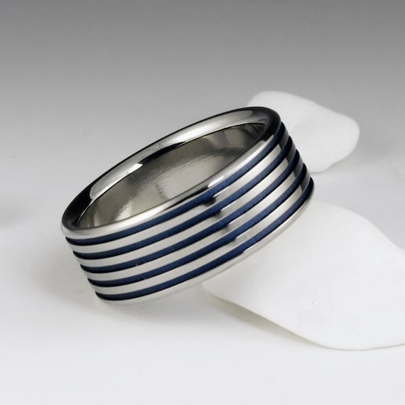Titanium Ring, Flat Profile Ring with Blue Pinstripes, Blue Titanium Band / Unique Handmade Ring / Wedding Engagement Promise Ring