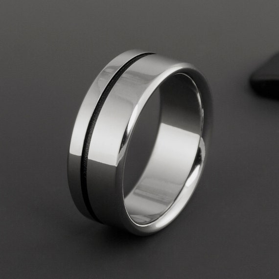 Titanium Band, Black Textured Stripe Titanium Ring / Wedding Band, Mens or Womens Ring, Engagement Ring, Promise Ring / Personalized Ring