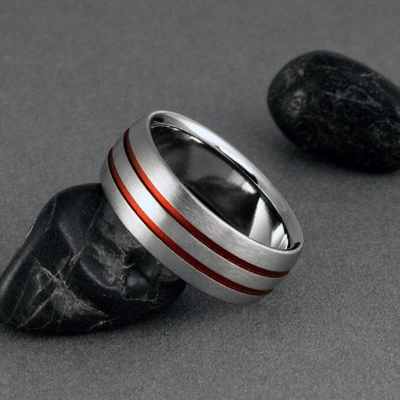 Titanium wedding ring red pinstripe titanium band mens for Titanium womens wedding ring