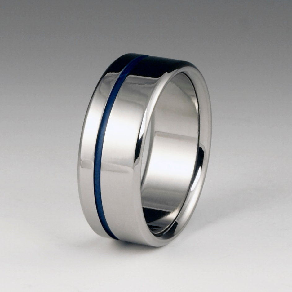 titanium wedding band blue titanium ring titanium ring