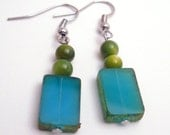 Blue Glass and Green River Shell Earrings