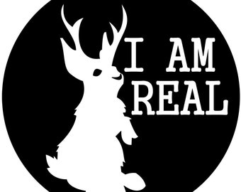 "I AM REAL Jackalope 3.5"" vinyl sticker"