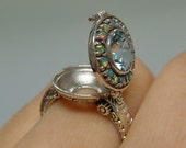 Aquamarine & Opal Poison Locket Sterling Silver .925 Ring