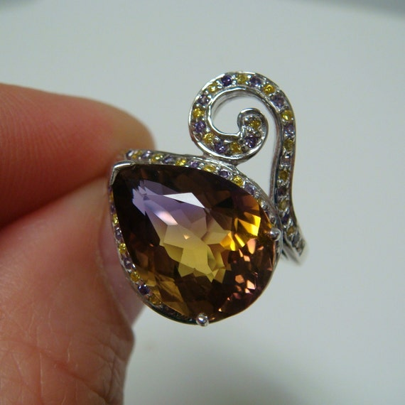 RESERVED - 4.77ct Tri-Color Ametrine Gemstone Ring .925 Sterling Silver