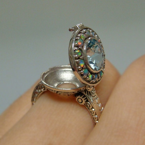 Aquamarine Amp Opal Poison Locket Sterling Silver 925 Ring