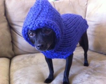 Cobalt Hooded Dog Sweater Hand Knitted