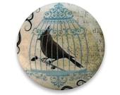 Bird Cabinet Knobs :  Black Bird & BirdCage Silhouette Victorian Style Cottage Chic Hardware or Dresser Drawer Pulls - Knobs by Design