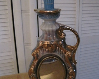 Porcelain mirrored Jim Beam decorative liquor bottle