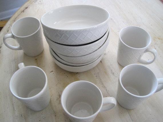 China set of 5 white bowls and six coffee mugs