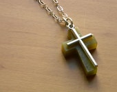 stone cross necklace. traditional with an edge. ooak