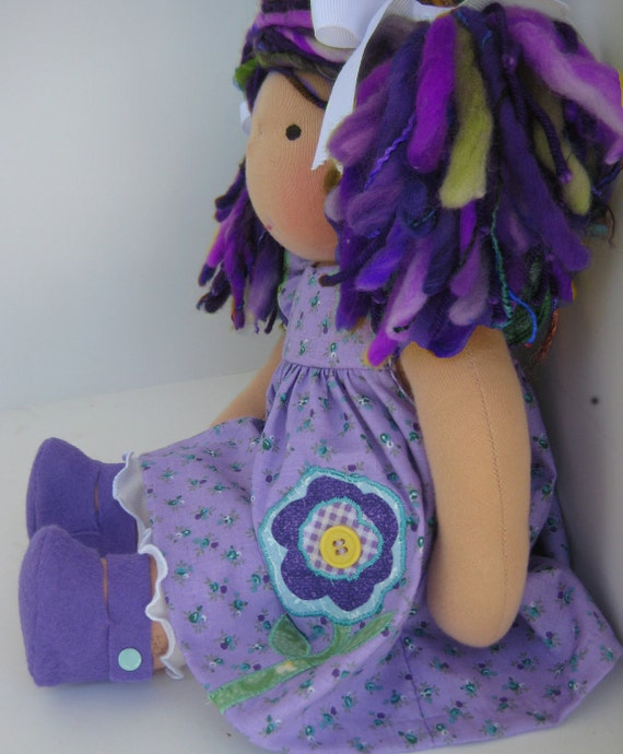 Waldorf Doll Clothes for 13, 14, 15 or 16 inch Applique Dress and Ruffled Leggings