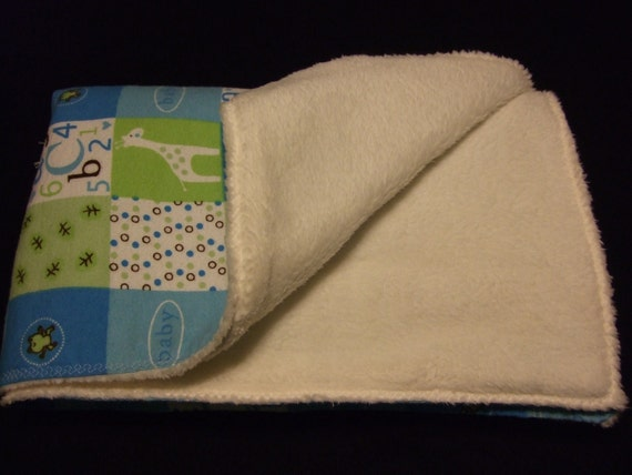 Giraffe patch fleece and flannel baby blanket