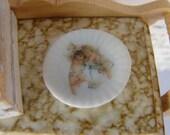 Dollhouse Miniature Plate with Sweetest Cherubs Angels Motif