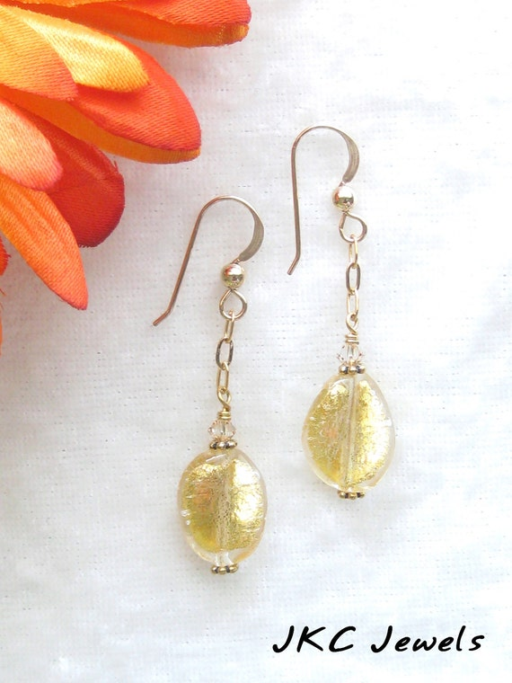 Murano Italian Venetian Glass Gold Twist Dangle Earrings, Venetian Gold Filled Jewelry