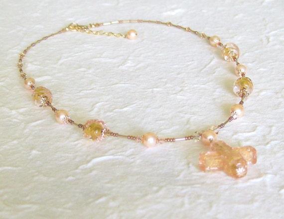 Murano Glass Peach Gold Venetian Cross Necklace, Venetian Jewelry