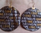 Leather Earring in Brown - FAITH, HOPE, LOVE