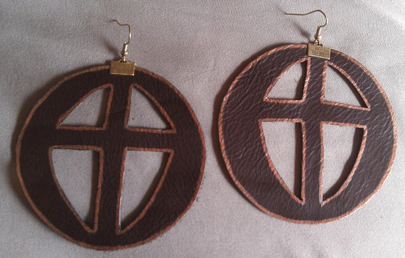 Brown Leather Earring with Cross