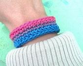 Bisexual Pride Skinny Crochet Cuff Bracelet- Pink, Purple, and Blue
