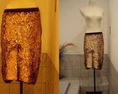 vintage 70s  handbeaded couture silk  gold sequin mini skirt. med