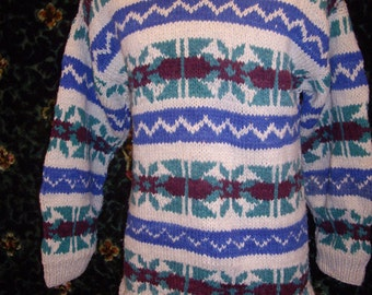 Moving Sale SALE Vtge 1970s hand knitted from  mountains of Ecuador unisex very thick wool cable sweater bust fair isle