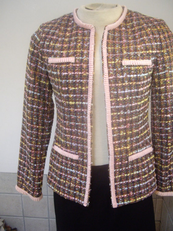 womens vintage pink ribbon fitted short cropped professional blazer bust 36 trim slim fit
