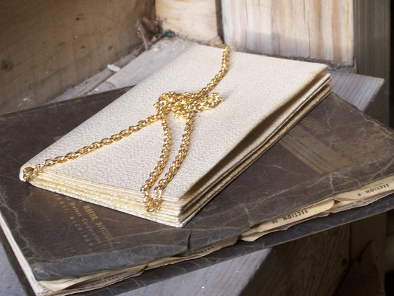 Italian Vintage Gold Clutch with Gold Chain--Formal-- Sale--20% Off
